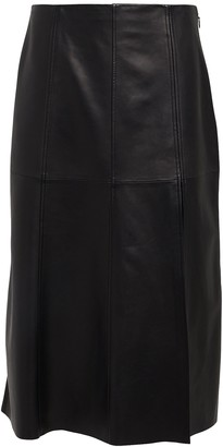 Intermix Paneled Leather Midi Skirt