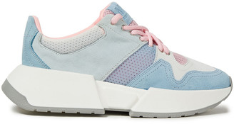 MM6 MAISON MARGIELA Color-block Mesh And Suede Exaggerated-sole Sneakers