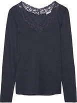 Hanro Chiara Lace-trimmed Wool And Silk-blend Jersey Top - Dark gray