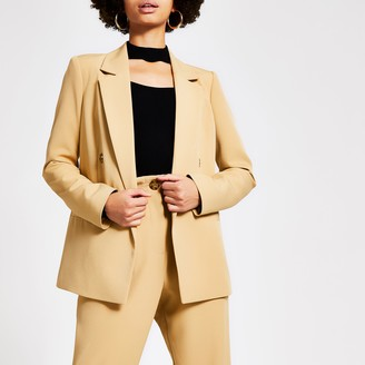 River Island Womens Beige double breasted blazer