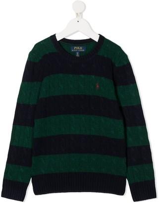 Ralph Lauren Kids Striped Long-Sleeve Knitted Top