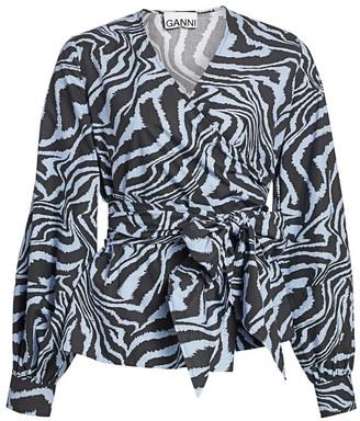 Ganni Zebra Print Wrap Top