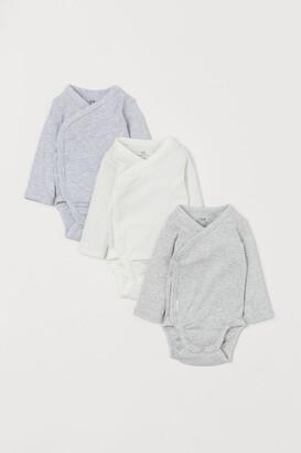 H&M 3-pack Long-sleeved Bodysuits - Gray
