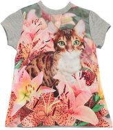 Molo Corina Short-Sleeve Cat T-Shirt Dress, Size 3-24 Months