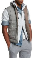 Brunello Cucinelli Reversible Quilted Vest, Gray