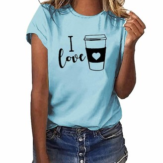 LOPILY Women's Cute Short Sleeve T-Shirt Crew Neck Floral Print Tee Casual Soft Glamorous Spring Summer Top(Wine.UK: 18/CN:3XL)