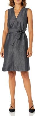 Ellen Tracy Women's Petite Belted Fold Dress