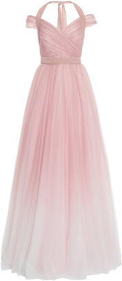 Jenny Packham Cindy Glittered Gradient Chiffon Off-The-Shoulder Gown