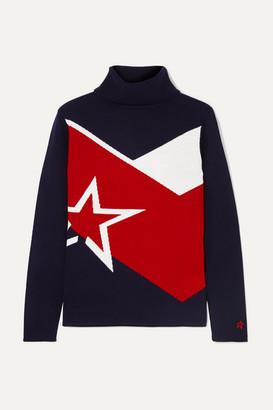Perfect Moment Super Day Intarsia Merino Wool Turtleneck Sweater - Navy