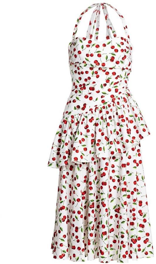 Michael Kors Cherry-Print Cotton Halter Dress