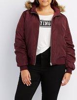 Charlotte Russe Plus Size Faux Fur-Trim Hooded Bomber Jacket