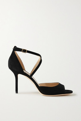 Jimmy Choo Emsy 85 Suede Sandals - Black