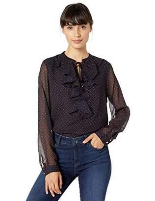 Tommy Hilfiger Women's Dot Print Ruffle Front Longsleeve Woven Top
