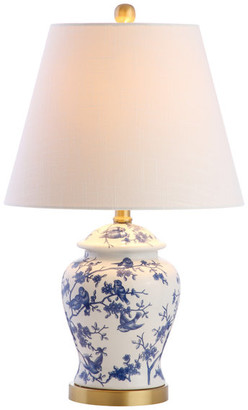 """Jonathan Y Designs Penelope 22"""" Chinoiserie Table Lamp, Blue and White"""