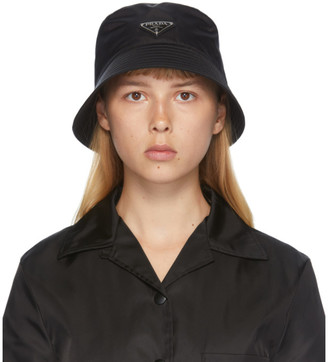 Prada Black Logo Nylon Bucket Hat
