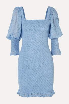 Ganni Shirred Floral-print Crepe Mini Dress - Blue