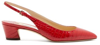 Jimmy Choo Gemma 40 Crocodile-effect Leather Slingback Pumps - Womens - Red