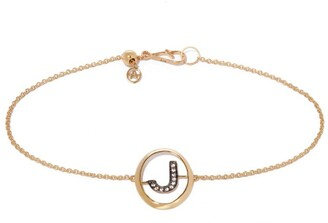 Annoushka Yellow Gold and Diamond Initial J Bracelet
