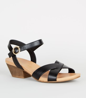 New Look Wide Fit Leather-Look Cross Strap Sandals