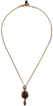 Alexander McQueen Gold Jewelled Droplet Pendant Necklace