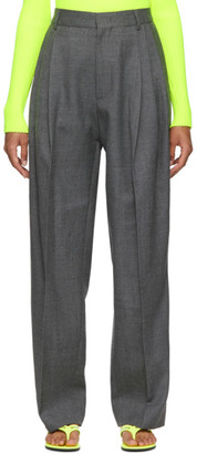 we11done Grey Wool Pin Tucked Trouser