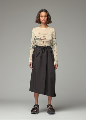 Y's by Yohji Yamamoto Women's Mesh Marble Print Long Sleeve Top in Beige Size 2