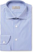 Canali Blue Slim-Fit Bengal-Striped Cotton-Poplin Shirt