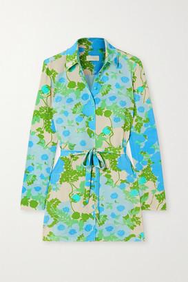 MARCIA Capri C'est Fini Belted Floral-print Stretch-econyl Shirt - Blue