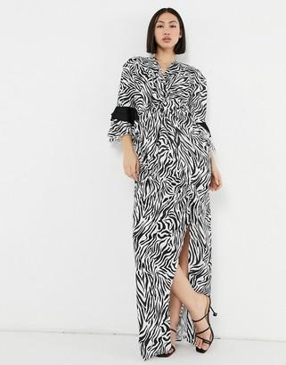 ELVI wrap maxi dress in zebra