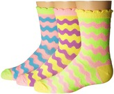 Jefferies Socks Pastel Neon Wavy Crew 3-Pack (Infant/Toddler/Little Kid/Big Kid)