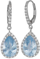 Fine Jewelry Lab-Created Aquamarine & White Sapphire Sterling Silver Earrings