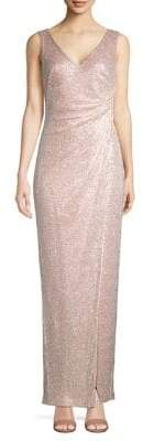 Calvin Klein Ruched Faux Wrap Gown