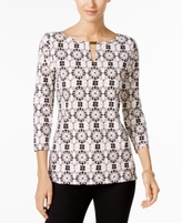 Charter Club Petite Medallion-Print Hardware Blouse, Created for Macy's