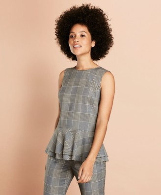 Brooks Brothers Plaid Stretch-Wool Peplum Top