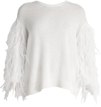 Valentino Ostrich Feather-Sleeve Virgin Wool & Cashmere Sweater