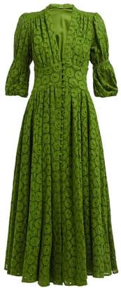 Cult Gaia Willow Puff Sleeve Eyelet Lace Maxi Dress - Womens - Green
