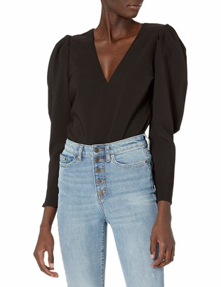 ASTR the Label Women's Johanna V-Neck Fitted Long Puff Sleeve Top