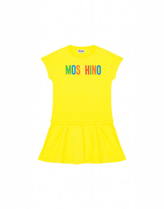 Moschino Multicolour Logo Dress Woman Yellow Size 4a It - (4y Us)