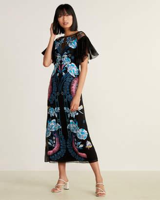 Temperley London Porcelain Flare Sleeve Silk Maxi Dress