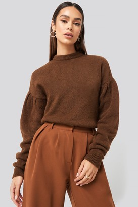 NA-KD Hanna Weig X Drop Shoulder Pullover Brown