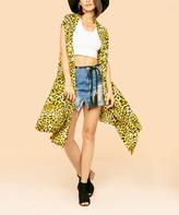 R.U.B.Z Women's Kimono Cardigans Mustard - Yellow & Black Cheetah Sleeveless Kimono - Women