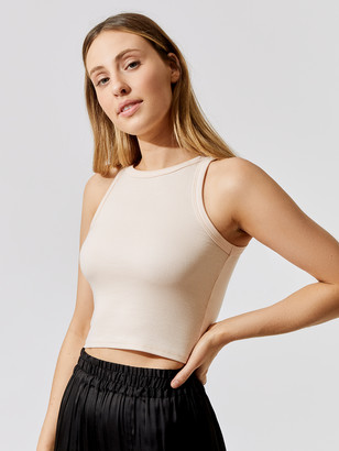 Carbon38 High Neck Ribbed Crop Tank