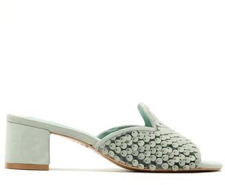 Blue Bird Shoes Embellished Panel Block Heel Pumps
