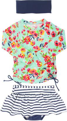 RuffleButts Girl's Floral Striped Skirted Rash Guard Bikini w/ Headband, Size 3M-10