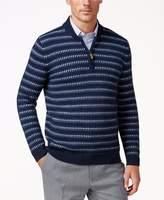 Tasso Elba Mens Pattern Elbow Patches 1/2 Zip Sweater Blue L