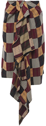 House of Holland Draped Checked Woven Skirt