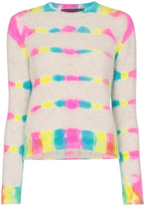 The Elder Statesman prism dyed cropped long sleeve knitted cashmere T-shirt