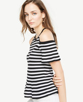 Ann Taylor Stripe Cold Shoulder Peplum Sweater