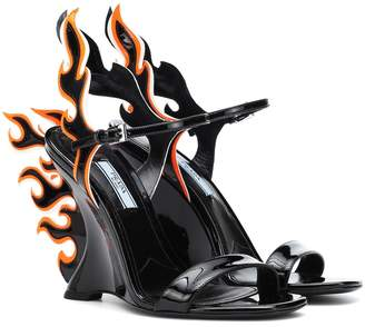 Prada 100 Flame leather wedge sandals