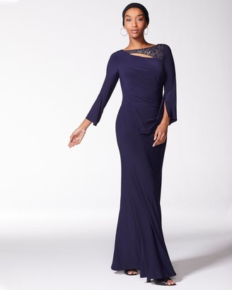 Vince Camuto Embellished-neckline Ruched Gown